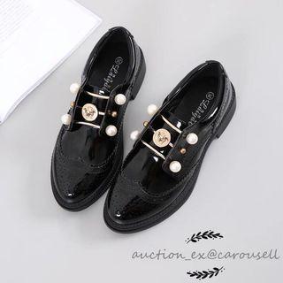英倫風珍珠金幣漆皮鞋