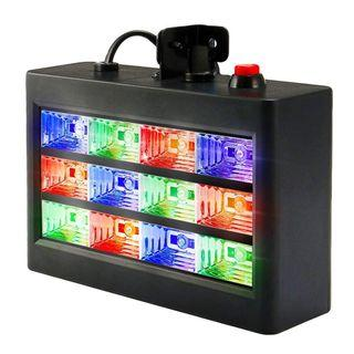 E774 DJ Party Lights, SOLMORE 15W 12 LED Strobe RGB Stage Disco Lights Auto Sound Activated DJ Lights Adjustable Flash Speed Control