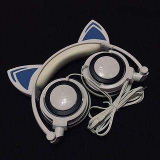 🚚 貓耳耳機白色電池式
