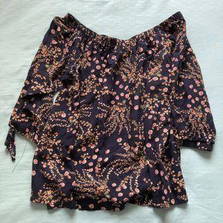 Temt Navy Floral Off Shoulder Top