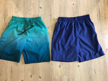 🚚 海灘褲 一件100 藍m綠L