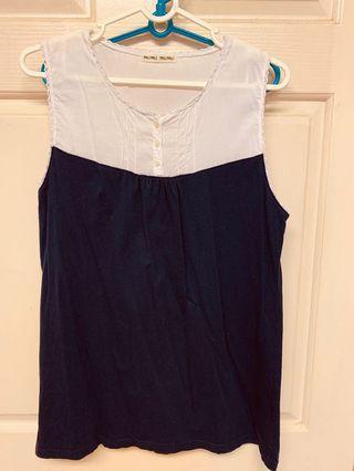 近全新日系品牌PALIPALI白色藍色雙色無袖可愛背心上衣 專賣日系進口雜貨的小店購入!只有下過水沒穿過!