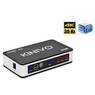 E784 Kinivo 301BN 3-Port High Speed 4K HDMI Switch With IR Wireless Remote And AC Power Adapter - Supports 4K 30Hz For Xbox 360/One, PS4/PS3, Nintendo Switch, Blu-ray Player, Apple TV, Roku etc