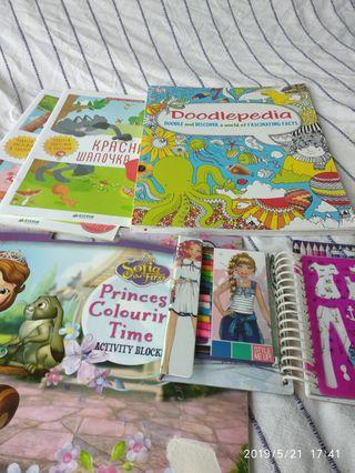 Sticker books, girls booklets, etc