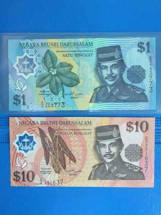 Brunei 🇧🇳 $1 & $10