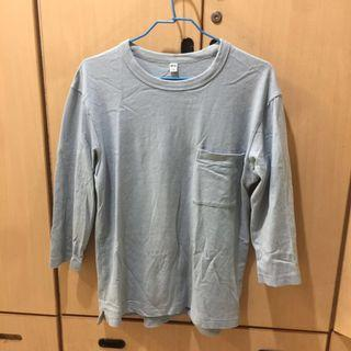 🚚 [出清衣櫃]Uniqlo 淺藍色七分袖