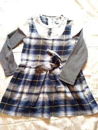 春秋 短袖洋裝 長袖上衣 2件組