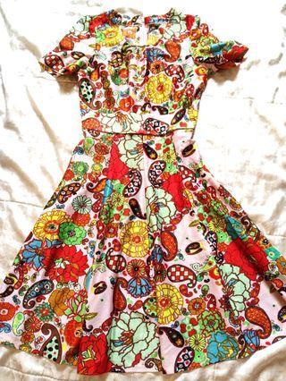 復古風 花 洋裝