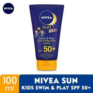 #mauthr Sunblock Nivea Sun Kids Swim & Play Sun Protection Lotion SPF 50+ Very Water Resistant Original Sunscreen