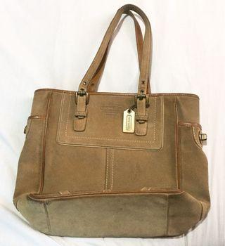 Coach Brown Suede Leather Tote Handbag