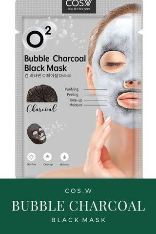 Beauty Facial Mask Sheet : Bubble Charcoal Black Mask COS.W (Masker Wajah)