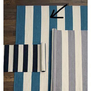 Olin Turquoise Striped Cotton Dhurrie 2'x3' Rug