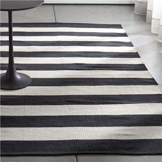 Olin Black Striped Cotton Dhurrie rug 4' x 6'
