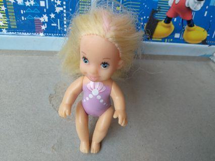 #mauthr Boneka baby rambut pirang panjang baju renang ungu
