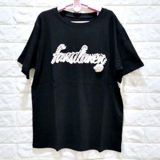 (8831)夏女裝黑色韓版高工藝珍珠字母上衣 L