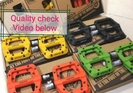 Restocking- Reserve yours now!  MZYRH Nylon 3-Sealed Bearings Composite MTB pedals, 360grams Watch quality check video below (Orange /Black /Yellow/Green, same light weight and size as RaceFace Chesters, same 16pins size and design)