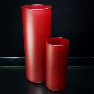 Ikea CYLINDER Glass Vase Set of 2 (Round, Frosted Red)