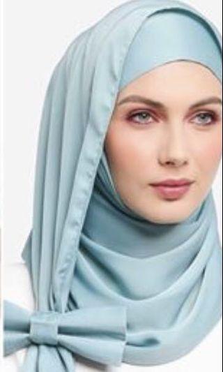 New Ilham Echenta Aulia Hijab Matte Satin Silk in Light Turquoise