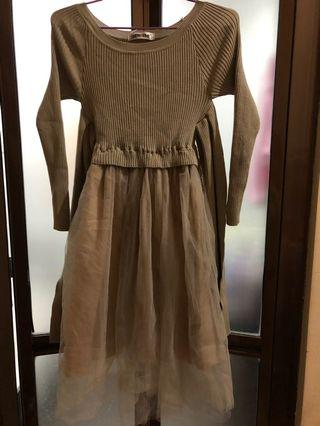Brown Dress knit n tille