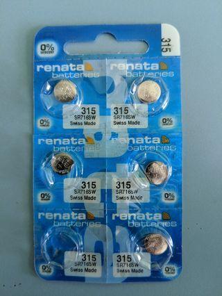 BNIB Renata SR716SW 315 1.55V battery 0% mercury (Expiry: 07-2021)