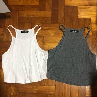 Zalora White And Grey Halter Crop Tops