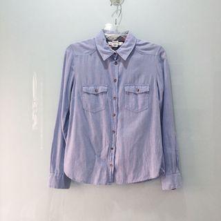 H&M Light Blue Denim Wash Button Up Shirt