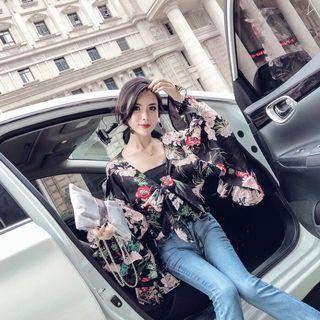 Floral Tie Kimono Shirt