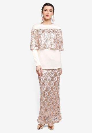 Zalia sequin overlay rose gold kurung