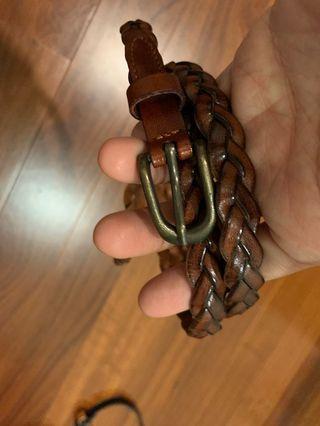 Preloved leather weaved belt