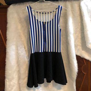 藍白條紋修身洋裝