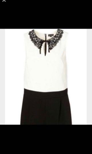 Brand New Topshop Lace Collar Playsuit