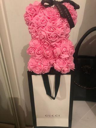 Rose petal teddy with Gucci paper bag