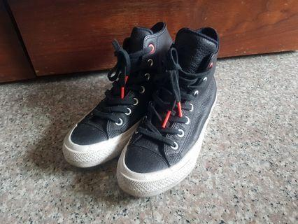 ALLSTAR CONVERSE匡威 黑色拼皮高筒帆布鞋 (38.5)