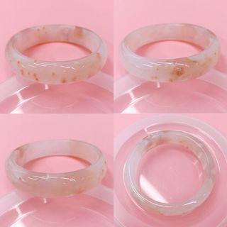 櫻花瑪瑙手鈪手鐲小圈口52.5 水晶底 橘粉小花點
