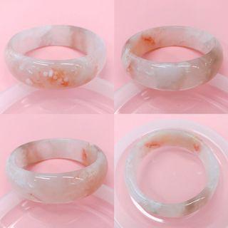 櫻花瑪瑙手鈪手鐲小圈口53 水晶紫冰共生 粉嫩小花瓣 份量款