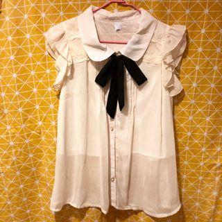 🚚 無袖優雅雪紡白襯衫