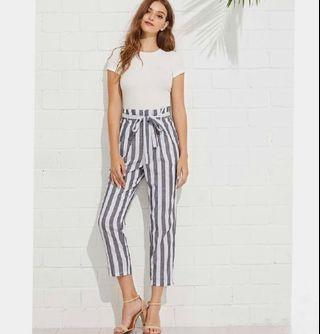 high waisted striped paperbag pants