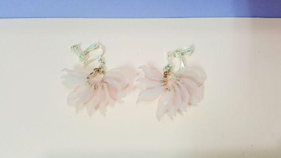 🚚 櫻花粉花瓣耳環(夾式)