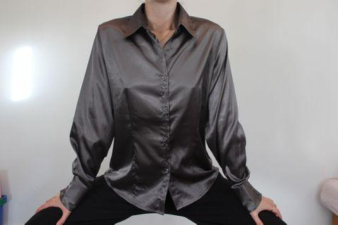Silver satin collared shirt