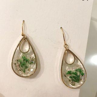日本手作乾花水滴型耳環