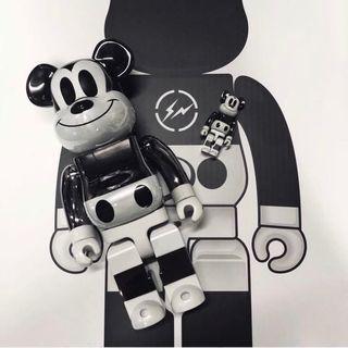 全新 Bearbrick Medicom x fragment design Mickey Mouse 米奇 400% + 100% set