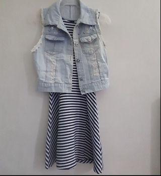 H&M Dress and Denim Vest