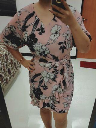Plus size pink Floral dress