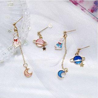 1 PAIR Planet Moon Rabbit Earrings / Clip Ons (PO)