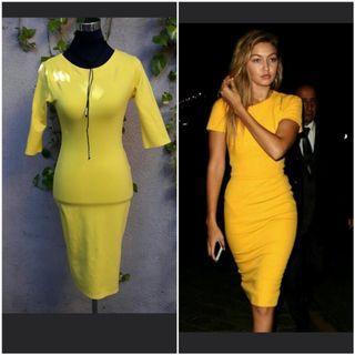 Yellow formal bodycon dress