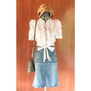 Vintage Ruffle Pattern Short Sleeves White Top