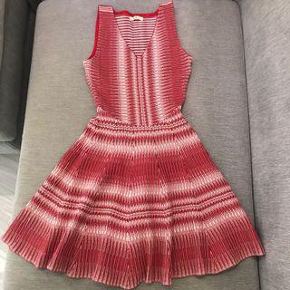 V neck Knit Fit and Flare Gradient Dress