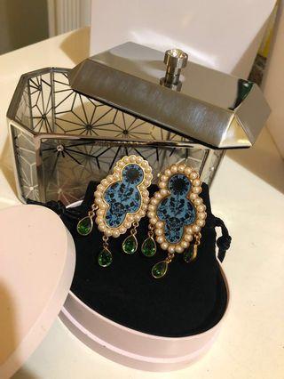 典雅型綠水晶耳環Pearl, Cystal earring