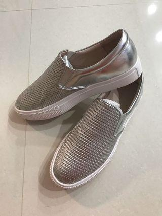 PAZZION Sneakers sports shoes walking casual silver white sole