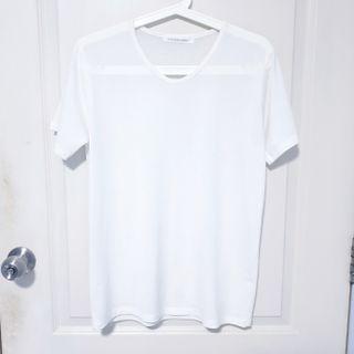 Straight Cut White V Neck T Shirt